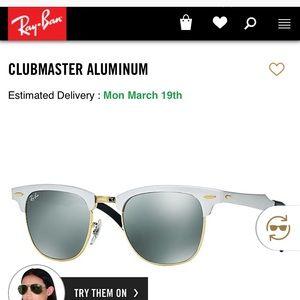 Authentic Ray Bans Club Master aluminum